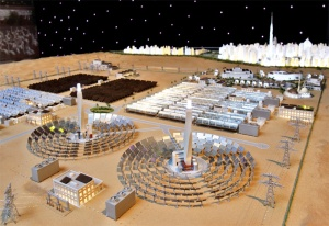 A scale model of Dubai's flagship solar park