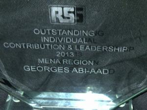 Outstanding Individual Contribution & Leadership 2013 MENA Region