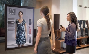 Life-size 3-D models of clothing that can be used in dressing rooms to instantly try on different colors of clothing or different styles: You can see 30 or 40 items of clothing realistically without trying them on.